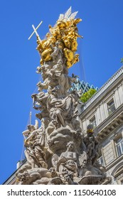 Fragments of the Plague Column or Holy Trinity column (Pestsaule) located on the Graben in Vienna, Austria. The column was inaugurated in 1693 after the end of Great Plague epidemic in 1679.