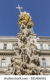 Fragments of the Plague Column in Vienna, Austria. The column, called the Pestsaule, was inaugurated in 1693 after the end of last big plague epidemics.