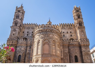 Fragments of Santa Vergine Maria Assunta Cathedral (1185) in Palermo with Arab-Norman architectural style. Palermo Cathedral is cathedral church of Roman Catholic Archdiocese of Palermo. Sicily.