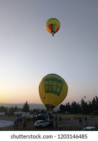 Fragneto Monforte, Benevento, Campania, Italy - October 14, 2018: Hot air balloon at the Fragneto Monforte sports ground for the 31st international ballooning meeting