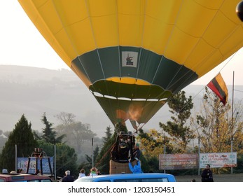 Fragneto Monforte, Benevento, Campania, Italy - October 14, 2018: Hot air balloon at the Fragneto Monforte sports ground for the 31st international ballooning meeting