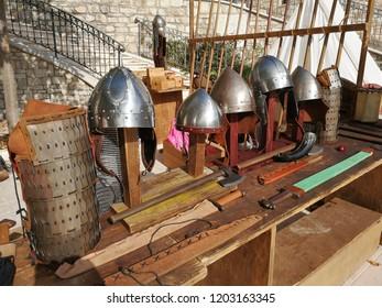 Fragneto Monforte, Benevento, Campania, Italy - October 12, 2018: Longobard armor on display in the historic center of Fragneto Monforte