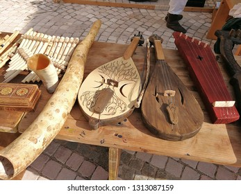 Fragneto Monforte, Benevento, Campania, Italy - October 12, 2018: Longobardi musical instruments on display in the historic center