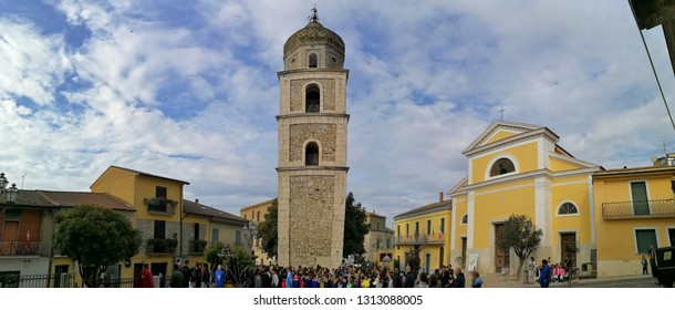 Fragneto Monforte, Benevento, Campania, Italy - October 12, 2018: Panoramic photo of the main square of the village