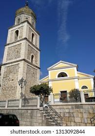 Fragneto Monforte, Benevento, Campania, Italy - October 12, 2018: Church of Saints Nicola and Rocco in the main square of the village