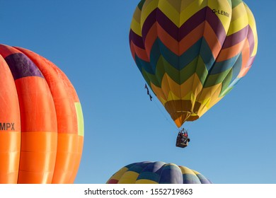 Fragneto Monforte, Benevento - ITALY - 15 Ottobre 2017 - Colored hot air balloons during a gathering