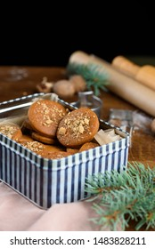 Fragrant gingerbread cookies with nuts. The process of baking gingerbread. New Year, chritsmas