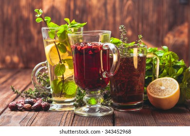 Fragrant herbal tea with thyme, mint, cranberry, lemon for healthy in winter