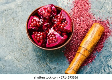 Fragrant spice made from pomegranate,Turkish seasoning.Fragrant colorful spices