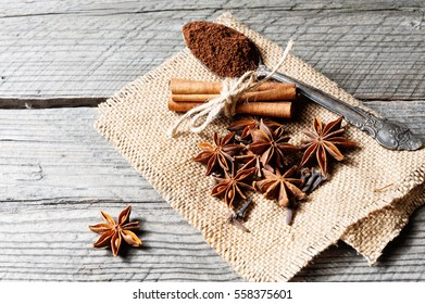 Fragrant Spices Coffee Cinnamon Cloves Anise Stock Photo