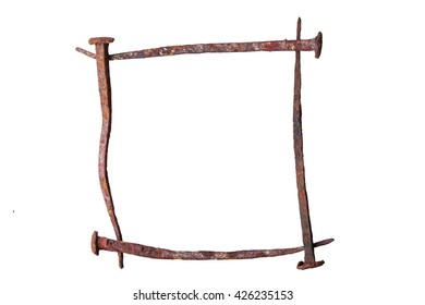frame of antique wrought iron nails, square, isolated background