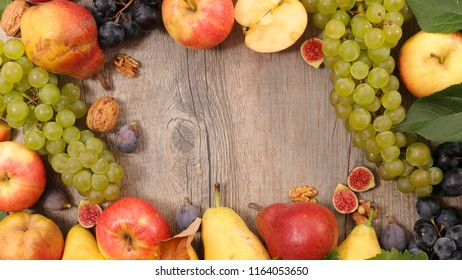frame of apple, pear and grape