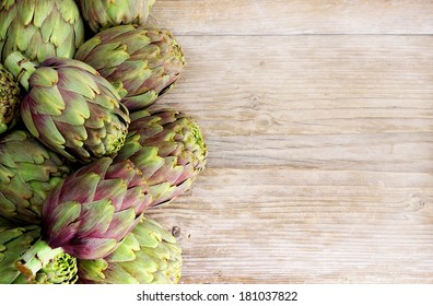 frame of artichokes