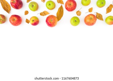 Frame of autumn fall leaves and apples fruit on white background. Flat lay, top view, copy space