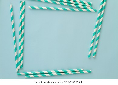 frame background of paper smoothies in blue stripe