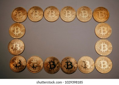 frame of bitcoins in the form of a circle, square and heart
