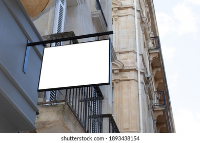 frame blank rectangle billboard on building wall in street empty for advertising