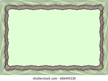 Frame blank template for a certificate or diploma