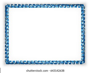 Frame and border of ribbon with the state South Dakota flag, USA. 3d illustration