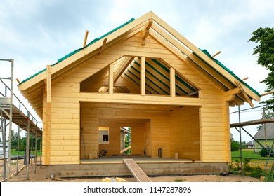 Frame of building a wooden house. Estonia, Europe