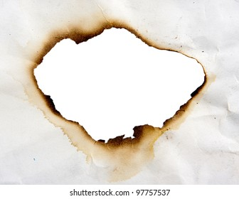 Frame of burned hole in paper