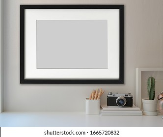Frame or canvas mockup on the wall