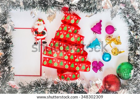 Frame Celebrate Christmas Tree Made Ribbon Stock Photo Edit Now