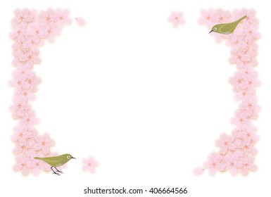 Frame of cherry blossoms and small birds