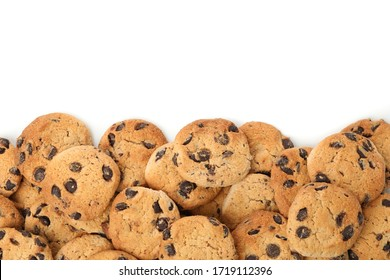 Frame of chocolate chip cookies isolated on white background - Shutterstock ID 1719112396