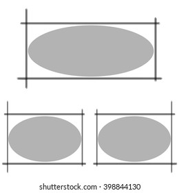 Frame with a circle inside. Circle for text.  Set