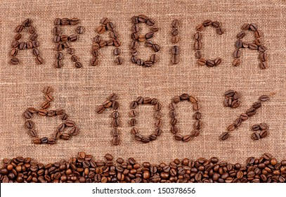 Frame of coffee beans and text hundred percent arabica