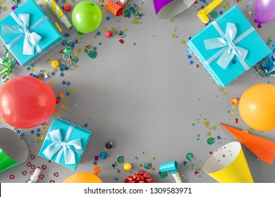 Frame Of Decoration Party On Gray Background Top View Flat Lay