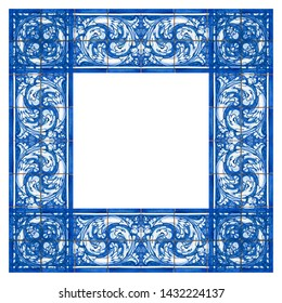 Frame design inspired by the Portuguese azulejos with typical decorations called azulejos - concept image