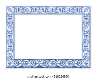 """Frame design with typical portuguese decorations called """"azulejos"""""""