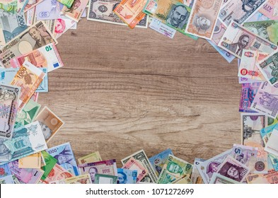 Frame from different banknotes with empty space in centre