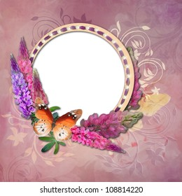 Frame with Drawing flowers and butterfly on pink background