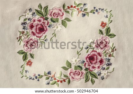 Frame Embroidery Pink Roses Other Flowers Stock Photo (Edit Now ...