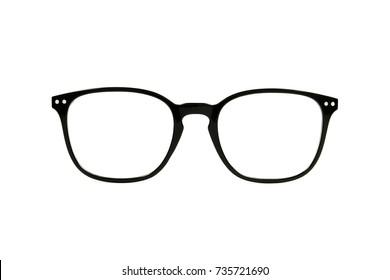 Frame eyeglasses black on white background