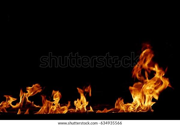 frame fire burn on a black background