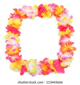 Frame from flowers necklace. Traditional Hawaiian decoration.