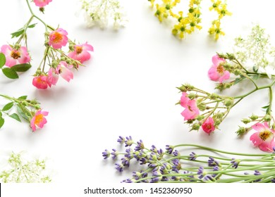 frame of flowers on white background