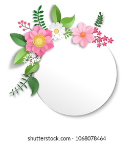 Frame with flowers in paper cut style.