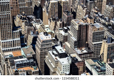 Frame full of contrast skyscrapers texture in Manhattan, New York