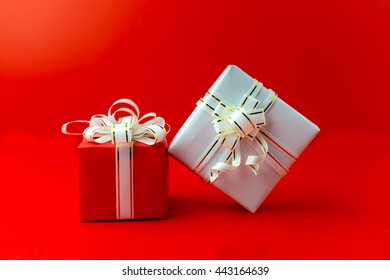 Frame of gift box on red background