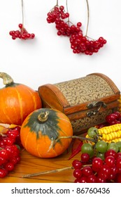 The frame of the gifts of autumn pumpkins, corn, fall leaves, tomatoes, red berry cranberry and grape. Clear space for your text