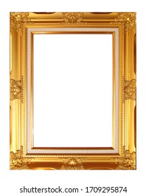 Frame Golden color isolated on white background . This has clipping path.