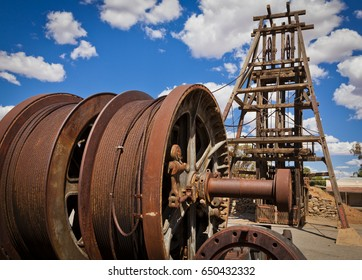 Frame Heads, Mining infrastructure, Mechanism for descending into mine. Broken Hill.