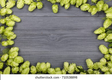 Frame of hop cones on black wooden background. Ingredient for beer production. Top view with copy space for your text