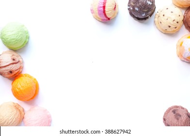 Frame of  ice cream scoops collection on white background