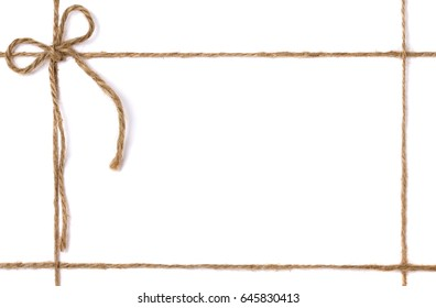 frame from jute rope with a bow for packing and decoration